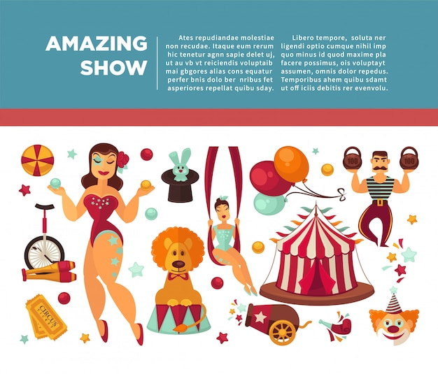 Incrível cartaz promocional de circo com participantes de espetáculos e equipamentos.
