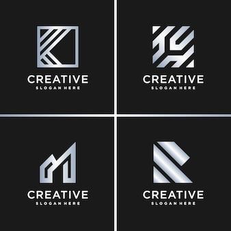 Incrível coleção de logotipo prateado gradiente, carta, construção, negócios, finanças