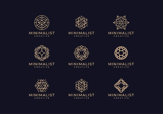 Incrível conjunto minimalista de logotipos de linhas naturais