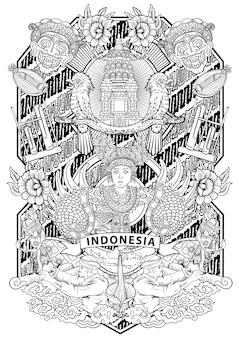 Incrível cultura da indonésia em moldura vintage