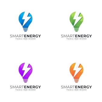 Incrível design de logotipo colorido com o conceito de luzes e símbolos de energia