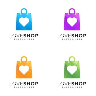 Incrível design de logotipo colorido de compras,