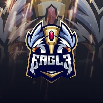 Incrível design de logotipo de águia com troféu