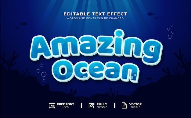 Incrível efeito de texto editável do oceano