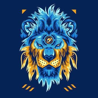 Incrível ilustração em vetor de cabeça de leão em fundo azul