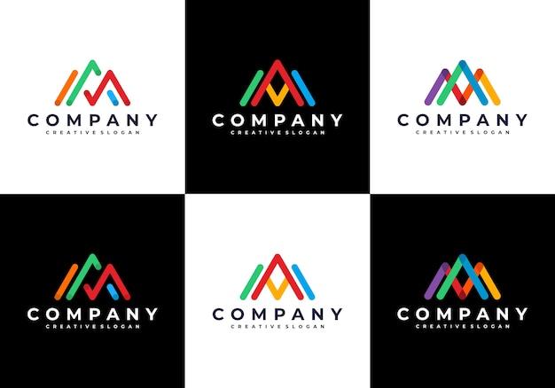 Incrível letra am moderna com coleção de conjunto de logotipo colorido