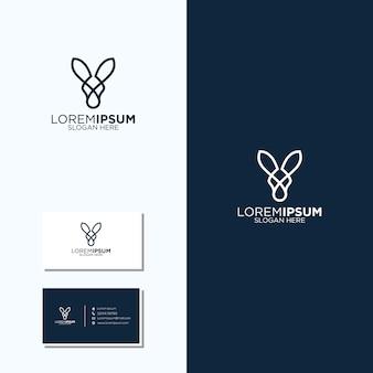 Incrível linha arte canguru logotipo e cartões de visita