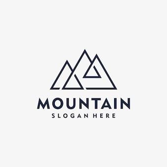Incrível linha arte montanha logotipo inspiração minimalista