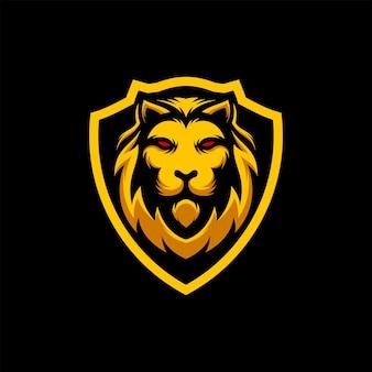 Incrível lion head shield logo mascot ilustração vetorial