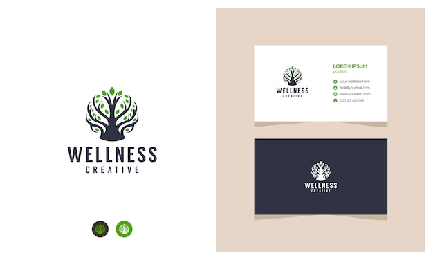 Incrível logotipo de bem-estar de planta com cartões de visita