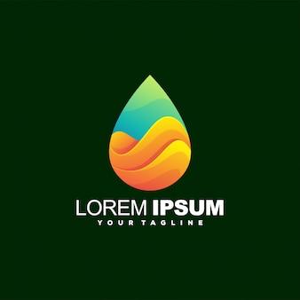 Incrível logotipo gradiente de onda