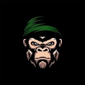 Incrível macaco kong logo mascot ilustração em vetor
