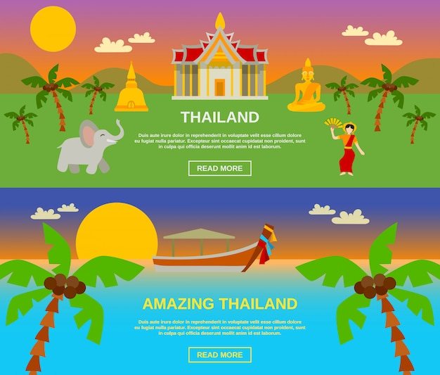 Incrível tailândia banners set