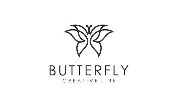 Incrível vetor de contorno de logotipo de borboleta
