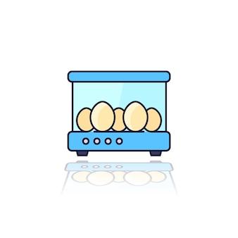 Incubadora com os ovos, ícone de contorno vetorial
