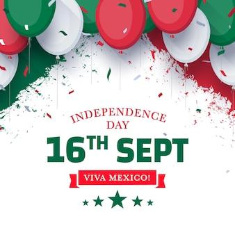 Independencia de méxico com balões e confetes