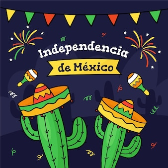 Independencia de méxico com cactos e chapéus