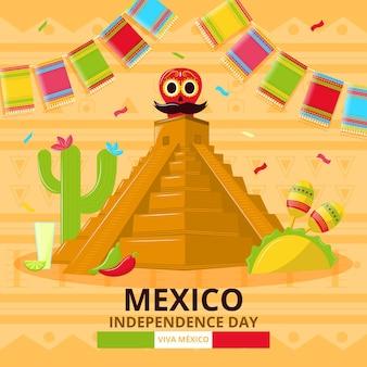 Independência do méxico com pirâmide