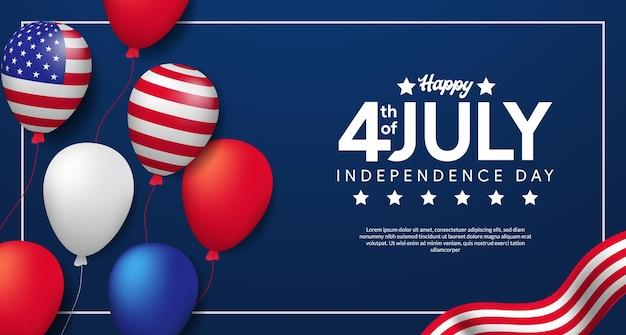 Independência dos eua com a bandeira americana do balão de hélio a voar. 4 de julho