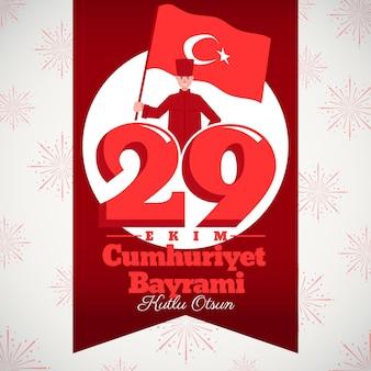 Independência nacional turca de 29 ekim com bandeira