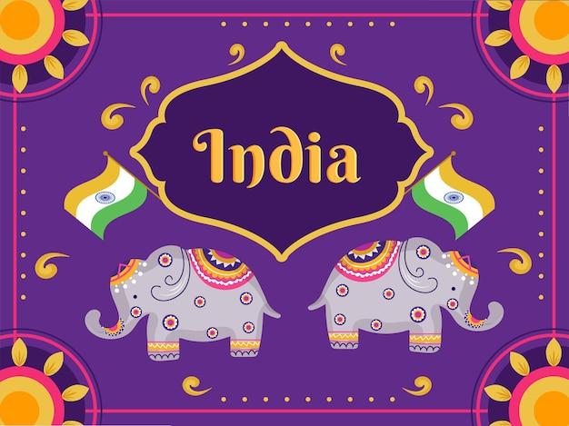 Índia art style background com ilustração de elefantes e bandeiras indianas.