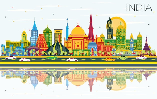 Índia city skyline com edifícios de cor, céu azul e reflexos. délhi. mumbai, bangalore, chennai. ilustração vetorial. conceito de turismo com arquitetura histórica. índia, paisagem urbana com pontos turísticos.