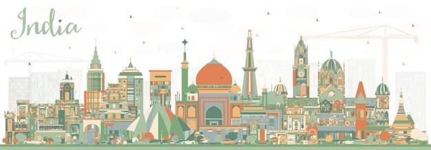 Índia city skyline com edifícios de cor. délhi. mumbai, bangalore, chennai. ilustração vetorial. conceito de viagem e turismo com arquitetura histórica. índia, paisagem urbana com pontos turísticos.