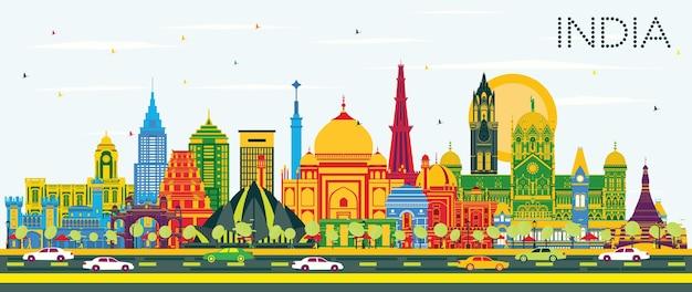 Índia city skyline com edifícios de cor e céu azul. délhi. mumbai, bangalore, chennai. ilustração vetorial. conceito de viagem e turismo com arquitetura histórica. índia, paisagem urbana com pontos turísticos.
