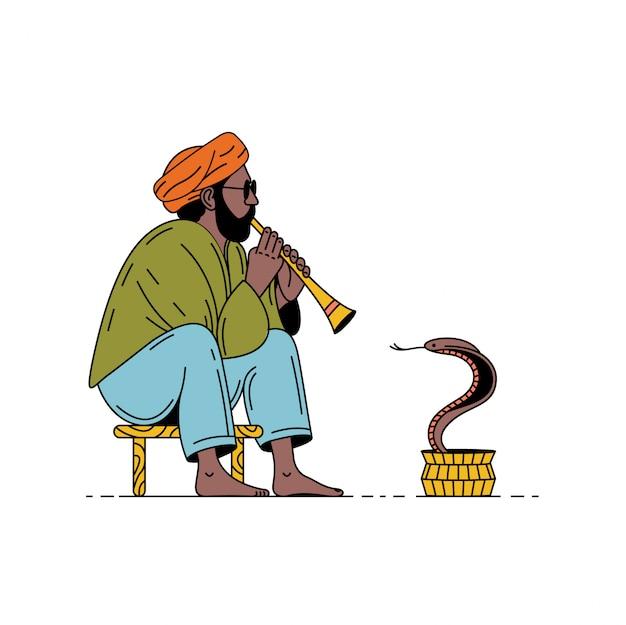 Índia, cobra e encantador. homem com flauta e cobra. ilustração de verão.