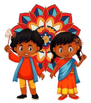 Índia menino e menina com mandala
