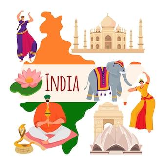Índia país pesquisa conceito mundo asiático oriental estereótipo de cobra encantador templo e elefante fla ...