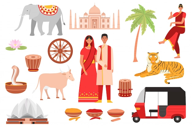 Índia, símbolos da cultura indiana, conjunto de viagens com budismo, objetos turísticos e comida do país, arquitetura e pessoas isolaram conjunto de ilustrações.