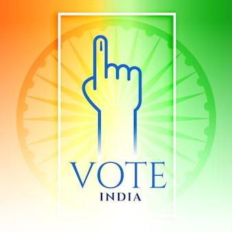 Índia voto mão com tricolor