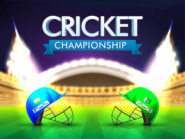 Índia vs cricket do paquistão conceito de jogo com capacetes de batedor no fundo brilhante do estádio.