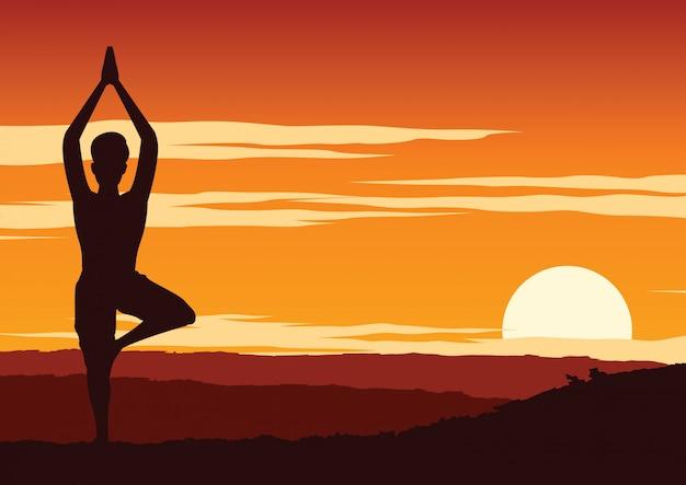Índia yogi realizar ioga