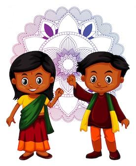 Indiano menino e menina com mandala