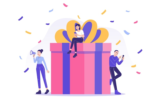 Indicação digital e programa de recompensa com as pessoas recebem uma grande caixa de presente