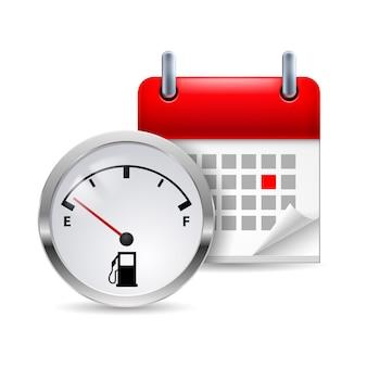 Indicador de combustível e calendário
