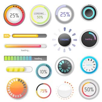 Indicadores da barra de carregamento do progresso baixar progresso ui-ux web design template interface upload de arquivo