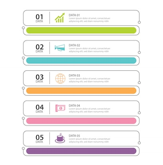 Índice de linha fina da guia infográficos com 5 modelos de dados