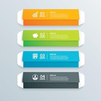 Índice de papel de guia de envelope infográficos com modelo de 4 dados.