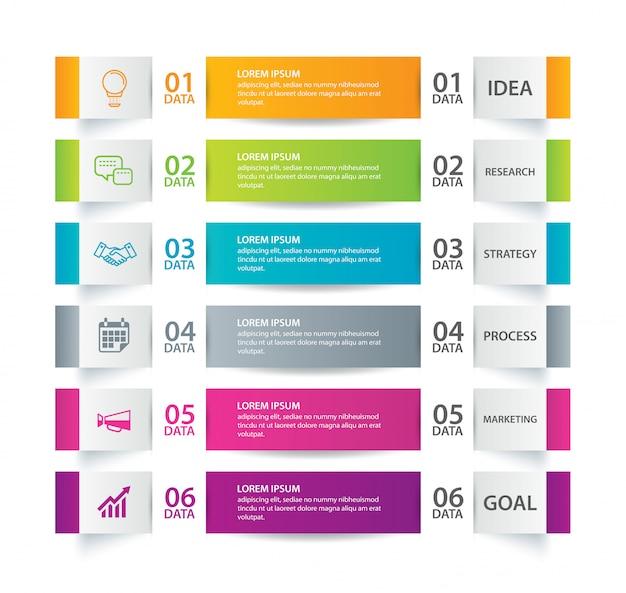 Índice de papel de guia de infográfico com um modelo de 6 dados.