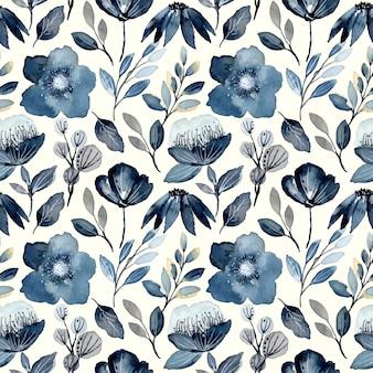 Índigo aquarela floral padrão sem emenda