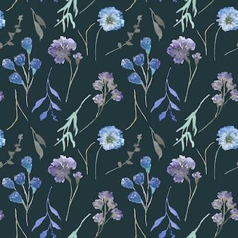 Índigo floral aquarela sem costura padrão