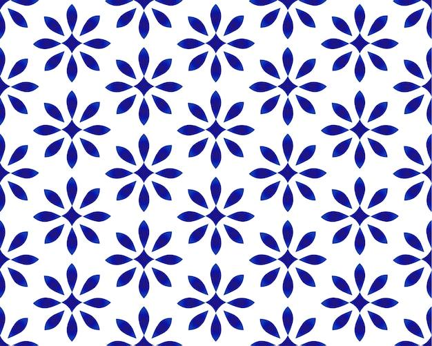 Indigo porcelana sem costura azul e branca decoração, padrão azul chinês