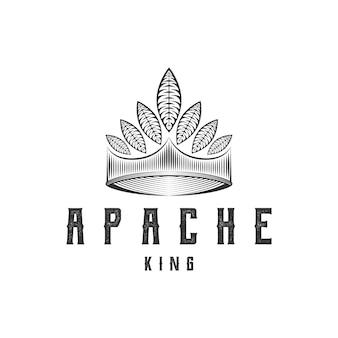 Índio americano, chefe nativo, coroa com pena, vetor de design de logotipo de arte de linha vintage