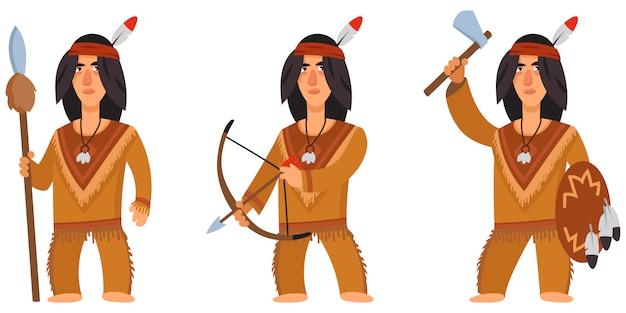 Índio americano em poses diferentes. personagem masculino em estilo cartoon.