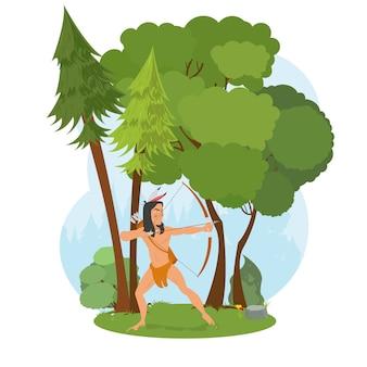 Índio americano na floresta caça