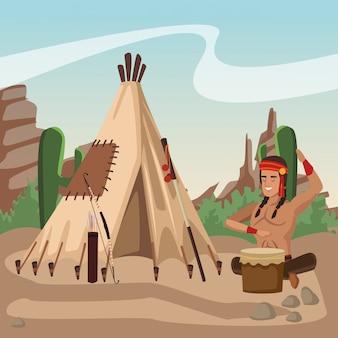 Índio americano tocando tambor na aldeia