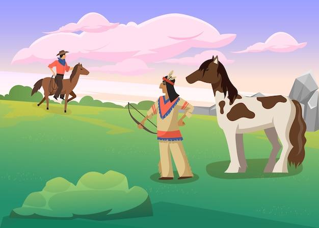 Índio segurando o arco em pé ao lado do cavalo. ilustração de desenho animado